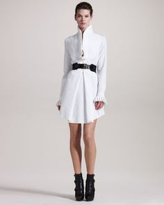 I love interesting collars. Alexander McQueen Knife-Pleated Tunic & Roller Belt - Neiman Marcus
