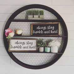 Hand painted wood signs celebrating all phases of life by thisphraseoflife Diy Wall Decor, Diy Home Decor, Tobacco Basket Decor, Circle Shelf, Round Shelf, Farmhouse Decor, Farmhouse Style, Farmhouse Ideas, Painted Wood Signs
