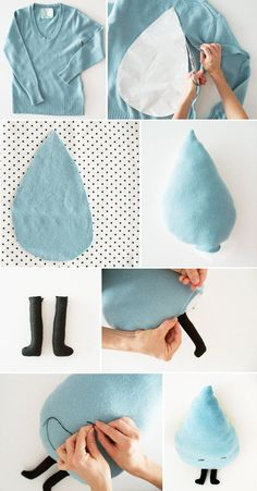 Raindrop pillow http://bkids.typepad.com/bookhoucraftprojects/2012/11/reuse-sweater-crafts-raindrop-pillow-.html