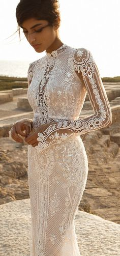 Gala by Galia Lahav 2017 Wedding Dresses — Bridal Collection no. III galia lahav gala 2017 bridal long sleeves high neck full embellishment crystals beaded elegant lace sheath wedding dress keyhole back chapel train zv Wedding Dress Sleeves, Dream Wedding Dresses, Boho Wedding, Bridal Dresses, Fall Wedding, Lace Sleeves, Maxi Dresses, Wedding Ideas, Dress Lace