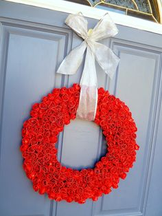 Duct tape wreath - flowers are made with duct tape
