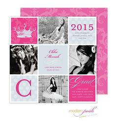 Graduation Invitation Pretty pink, black and white