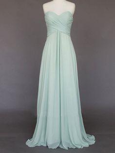 Light Green Wedding dress/Silk Chiffon party dress/ bridesmaid dress/Strapless Prom/ handmade/ floor length formal dress