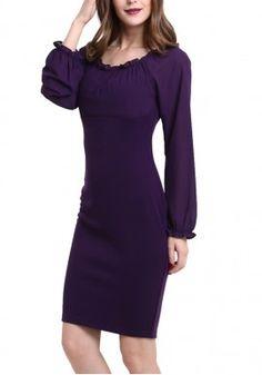 New Arrival Maxfancy Fashion Europe Slim Long-Sleeved Purple Chiffon Stitching Pencil Tight Bodycon Dress