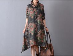 Women cotton floral winter casual loose fitting irregular dress - Tkdress  - 2