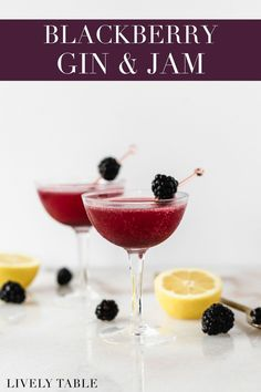 This 4-ingredient blackberry gin and jam cocktail couldn't be easier to make. It's fruity and floral but not too sweet with a beautiful purple color! Perfect for a summer brunch or party. Frozen Drink Recipes, Frozen Cocktails, Winter Cocktails, Sangria Recipes, Easy Cocktails, Beer Recipes, Margarita Recipes, Punch Recipes, Smoothie Recipes