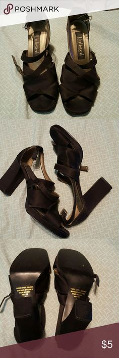 Black satin strappy chunky heels Black satin strappy heels with ankle straps size 9 fits like an 8- 8 1/2 Unlisted Shoes Heels