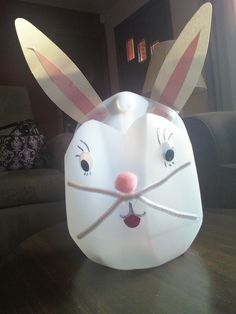 Bunny basket made from milk gallon jug for preschool class...we do them every year.