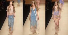 O jeans azul em tom médio abraçou a proposta hippie da estilista Alberta Ferretti em sua coleção Verão 2015, casando com a leveza do nude. Transparências, franjas e florais aparecem em detalhes