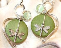 Lime Green Earrings, Jewelry with Dragonflies, Dragonfly Earrings, Pastel Green Jewelry, Handmade Hippie Dangles, Insect Earrings