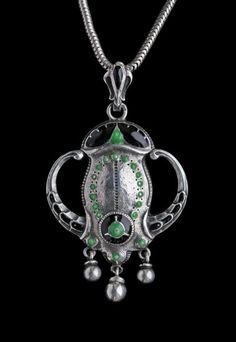 This is not contemporary - image from a gallery of vintage and/or antique objects. JUGENDSTIL Fantastical Sea Creature Pendant Silver Enamel