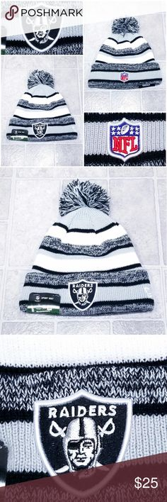 Oakland Raiders New Era NFL Pom Knit Beanie Hat BRAND NEW WITH TAGS 🏷  Oakland Raiders New Era NFL Official On-Field Sports Pom Knit Beanie Cap. 7cb0be60f