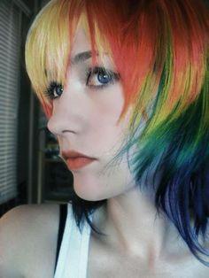 Rainbow Hair rainbow hair is my favorite. Now,only if gutsy were my favorite.rainbow hair is my favorite. Now,only if gutsy were my favorite. Short Rainbow Hair, Bright Hair Colors, Colorful Hair, Pelo Multicolor, Short Punk Hair, Hair Affair, Crazy Hair, Green Hair, Teal Green