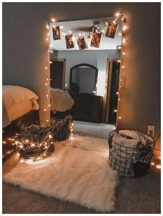 35 beautiful DIY fairy lights for minimalist bedroom decoration - dream room -. - 35 beautiful DIY fairy lights for minimalist bedroom decorations – dream room – water, - My New Room, My Room, Dorm Room, Teenage Room Decor, Teen Decor, String Lights In The Bedroom, Cute Room Decor, Decoration Bedroom, Bedroom Decor Lights
