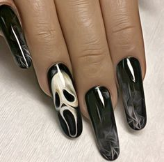 Ghost face black sheer nails