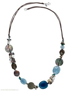 """A playful Necklace of Sterling Silver, etched Shell, Quartzite, Obsidian, Brass, Agate and Magnesite is perfect for work and weekend wardrobes. 28""""."""