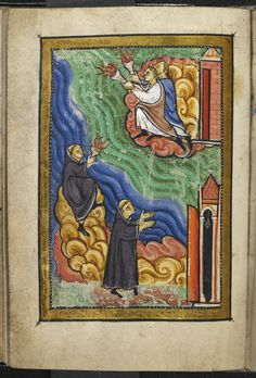 monks at St Cuthbert's hermitage signalling with torches to the monks at Lindisfarne that St Cuthbert is dead, from Chpater 40 of Bede's Life of St Cuthbert, late 12C (Yates Thompson MS 26, f 74v)