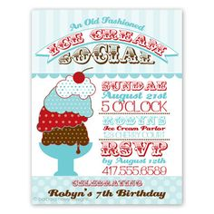 Printable or Emailable Ice Cream Social Invitation by bugluv ...
