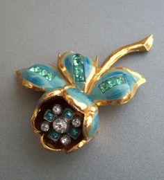 Coro Trembling Camellia Blue Enamel Rhinestone Fur Clip