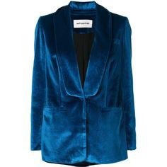Self-Portrait velvet blazer ($502) ❤ liked on Polyvore featuring outerwear, jackets, blazers, blue, velvet jackets, blazer jacket, blue blazer, blue jackets and velvet blazer