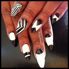 #black #white #nails #nailart #nyc #potd #fashion #fun