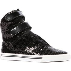 SUPRA The Society Sneaker in Black Sequins and Patent ($60) ❤ liked on Polyvore featuring shoes, sneakers, black, black hi top sneakers, high-top sneakers, supra sneakers, black high tops and black sequin sneakers