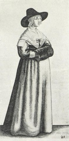 Women's Fashions of the 17th Century: Drawing by Wenceslaus Hollar, circa 1645