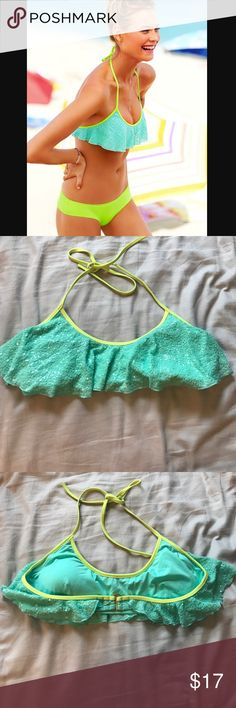 Victoria's Secret Sequin Flounce Top Turquoise Sequin Flounce Top with Neon Margarita accent. Perfect condition. Only worn a handful of times. Super cute and fun swim top to add to your collection! Size Large Victoria's Secret Swim Bikinis