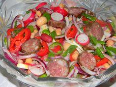 Reteta culinara Salata rustica din categoria Salate. Cum sa faci Salata rustica Sausage, Meat, Food, Salads, Sausages, Essen, Meals, Yemek, Eten
