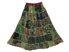 Womans Maxi Skirt Green Floral Patchwork Vintage Gypsy Long Skirts Mogul Interior,http://www.amazon.com/dp/B00K826LZS/ref=cm_sw_r_pi_dp_ZuoBtb1KK2AMWX12