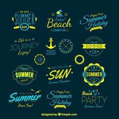 Badge Vectors, Photos and PSD files Lettering, Typography Logo, Logo Branding, Typography Design, Inspiration Logo Design, Summer Logo, Illustrator, Logos, Logo Sign