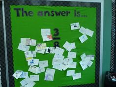 Love this! The teacher provides an answer and students come up with questions that fit. Could work with other things besides fractions.