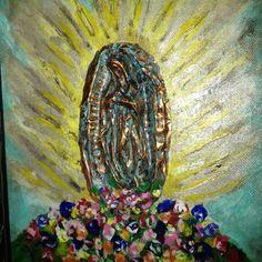 Handmade copper virgen de Guadalupe on canvas