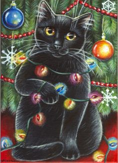 Black Cat - Christmas Painting