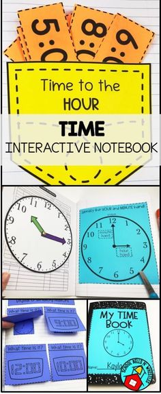 Time to the hour, half hour, and quarter hour! Fun math interactive notebook. Ideal for special education. Includes interactive clock!