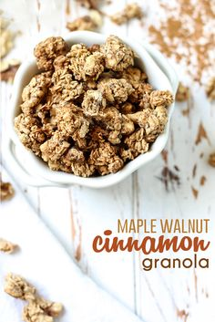 This Maple Walnut Cinnamon Granola is easy to make and goes with everything! Gluten-free, vegan, and it makes your house smell amazing. Whole Food Recipes, Snack Recipes, Gf Recipes, Kitchen Recipes, Sweet Recipes, Granola Clusters, Gluten Free Gingerbread, Maple Walnut, Healthy Foods To Eat