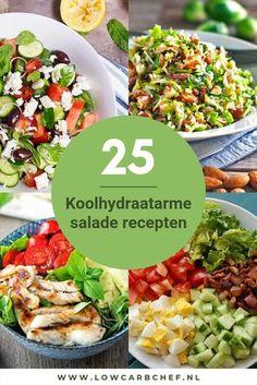 Een frisse koolhydraatarme salade is heerlijk om te eten als lunch of hoofdgerecht bij het avondeten. Bij ons is er keuze uit 25 koolhydraatarme salade recepten #koolhydraatarm #salade #recepten #gezond #gezondeten