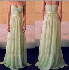 New Arrival Strapless Sweetheart Neck Floor Length Sage Chiffon Long Wedding Party Bridesmaid Dresses APD0292