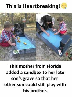 Mother creates heartbreaking sandbox tribute on her infant son's grave so his toddler brother can spend time with him Wow Facts, Weird Facts, True Facts, Heart Touching Story, Touching Stories, Sad Stories, Memes Humor, Funny Memes, Some Amazing Facts