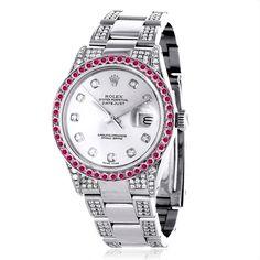 Custom Red Ruby Bezel White Diamond Rolex Datejust Mens Watch 7ct