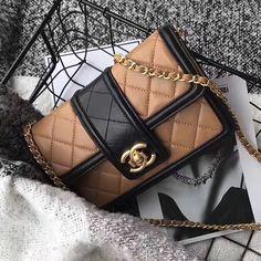 Chanel Lambskin Small Chain Wallet Beige A91365