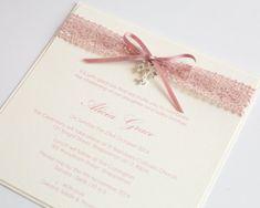 Dusty Pink Lace Ribbon & Cross Christening Invitation