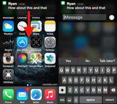 Répondre rapidement à un message iphone
