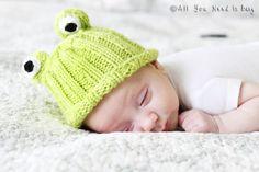 Newborn Hat  Baby Frog Hat by AllYouNeedIsPugShop on Etsy, $32.00