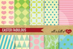 Easter Geometric Patterns in Pastel Colors :: Printable Scrapbook Background Papers You get 10 High Quality Sheets :: JPG files in Letter size with 300 dpi jpg, for perfect printing or digital use. These are great for scrapbooking, crafts, party decor, DIY projects, blogs, stationery & more. All patterns are original and copyrighted by All is Full of Love