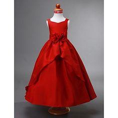 Ball Gown V-neck Ankle-length Taffeta Flower Girl Dress – AUD $ 118.05