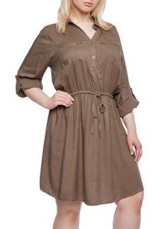 Plus Size Utility Dress,OLIVE