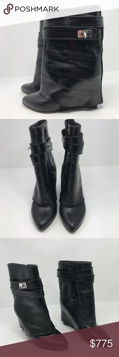 Givenchy Women's Black Eel Shark Lock Boot Sz 38.5 Excellent used condition moderate scuffing at soles, one owner, worn twice  * Folded ankle boots * Wedge heel measures approximately 90mm/ 3.5 inches * Shaft 165mm/6.5 inches in length  * Black eel, black leather * Hidden zipped side, pointed toe * Signature shark tooth turn lock-closure double wrap ankle strap   Comes with box and alternate shoe bag Givenchy Shoes Ankle Boots & Booties