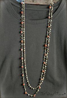 Crocheted Boho Jewelry Gemstone bracelet or necklace Crochet Bracelet, Bead Crochet, Handmade Beaded Jewelry, Gemstone Jewelry, Malva, Beads And Wire, Bohemian Jewelry, Jewelery, Beaded Necklace