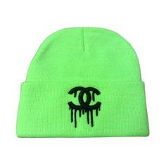 NEON GREEN DRIPPING CC BEANIE CHANEL (205 ARS) ❤ liked on Polyvore featuring accessories, hats, sport beanie, beanie hats, baseball cap, sport hats and baseball hats